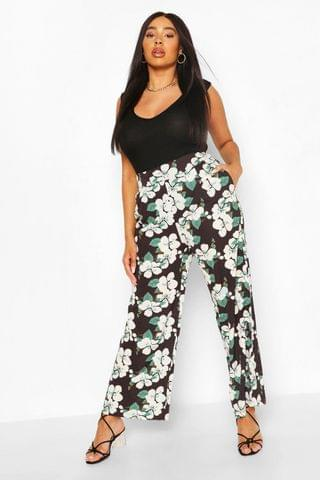 WOMEN Plus Floral Palazzo Trousers