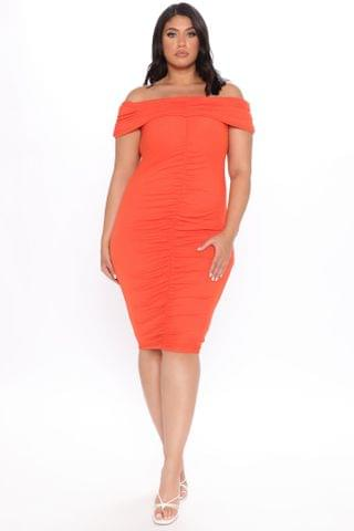 WOMEN Come To Decide Off Shoulder Midi Dress - Red