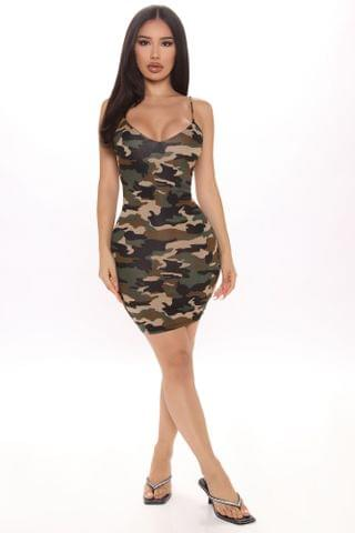 WOMEN Check It Up Printed Mini Dress - Camouflage