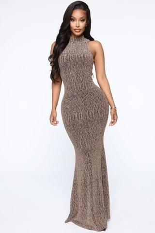 WOMEN Rolling Deep Metallic Maxi Dress - Gold