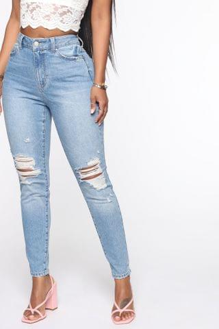 WOMEN The Mixer Distressed Skinny Jeans - Light Blue Wash
