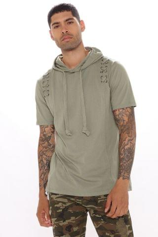 MEN X Marks The Spot Hooded Tee - Sage