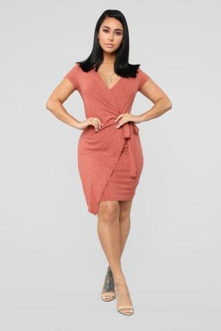 WOMEN Eileen Wrap Dress - Marsala