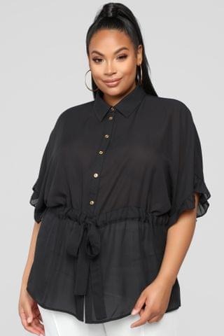 WOMEN Ruffle Talk Button Down Shirt - Black