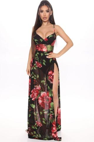 WOMEN Surprise Me With Florals Maxi Dress - Black/Red