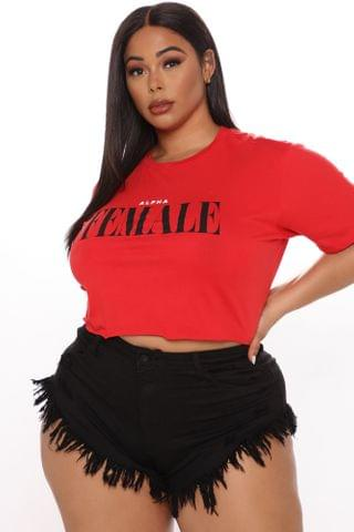 WOMEN Alpha Female Crop Top - Red