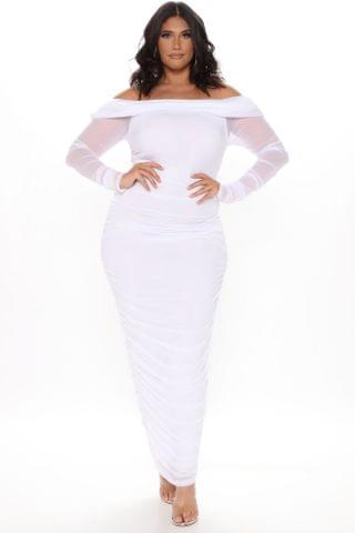 WOMEN Top Trend Ruched Maxi Dress - White