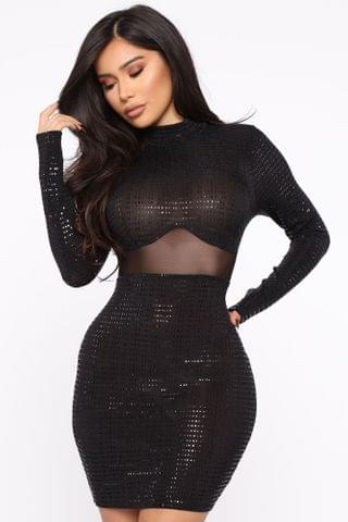 WOMEN Irreplaceable Metallic Mini Dress - Black/Copper