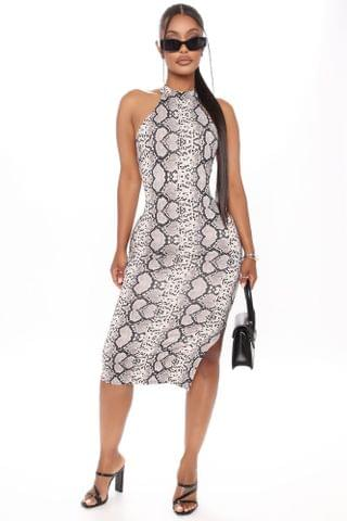 WOMEN Cassie Printed Midi Dress - Grey/combo