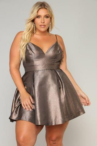 WOMEN Steal The Show Metallic Dress - Bronze