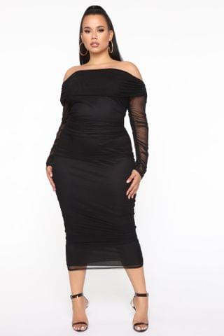 WOMEN Top Trend Ruched Maxi Dress - Black