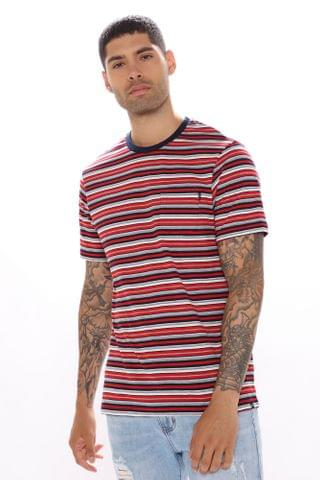MEN In Charge Short Sleeve Pocket Tee - Red/Combo