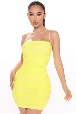 WOMEN Center Of The Party Ruched Mini Dress - Yellow