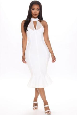 WOMEN New Era Bandage Midi Dress - White