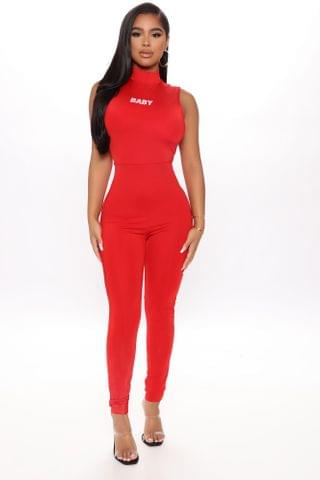 WOMEN Not Your Typical Baby Jumpsuit - Red