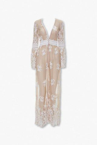 WOMEN Sheer Embroidered Longline Kimono