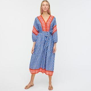 WOMEN V-neck cover-up dress in classic block print