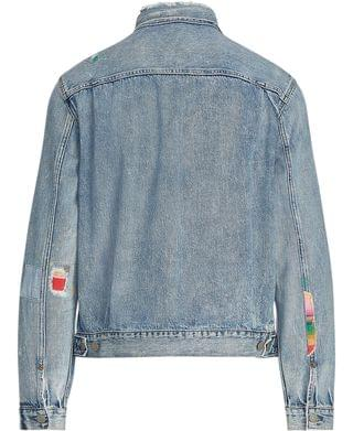 MEN Men's Repaired Denim Trucker Jacket