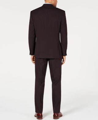 MEN by Andrew Marc Men's Modern-Fit Stretch Burgundy Textured Suit