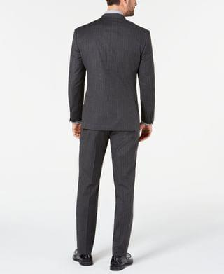 MEN by Andrew Marc Men's Modern-Fit Stretch Charcoal Pinstripe Suit
