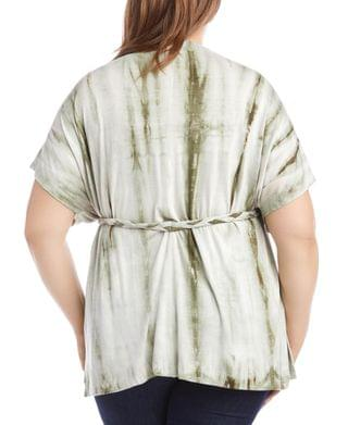 WOMEN Plus Size Belted Tie-Dyed Tunic Top