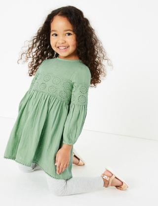 KIDS Cotton Broderie Anglaise Dress (2-7 Yrs)