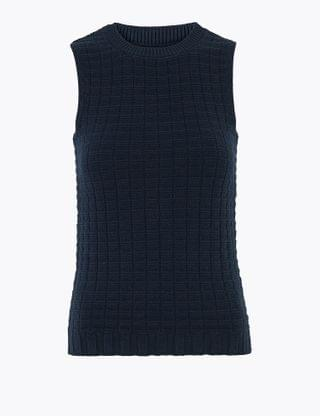 WOMEN Pure Cotton Knitted Sleeveless Fitted Top