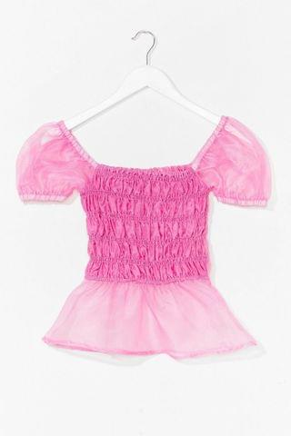 WOMEN Come Over Sheer Shirred Puff Sleeve Top
