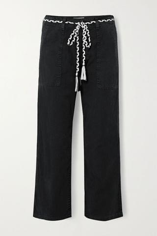 WOMEN THE GREAT The Vintage belted cotton-canvas straight-leg pants
