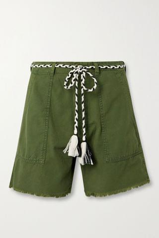 WOMEN THE GREAT The Vintage Army belted cotton shorts