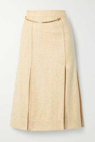 WOMEN VICTORIA BECKHAM Leather-trimmed pleated silk-blend tweed wrap skirt