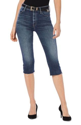 WOMEN MOTHER The Stunner Knicker Fray High Waist Skinny Capri Jeans (Home Before Dawn)