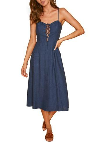 WOMEN Lost + Wander Out of the Blue Fit & Flare Dress