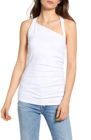 WOMEN Susana Monaco Angled Neck Side Ruched Tank Top