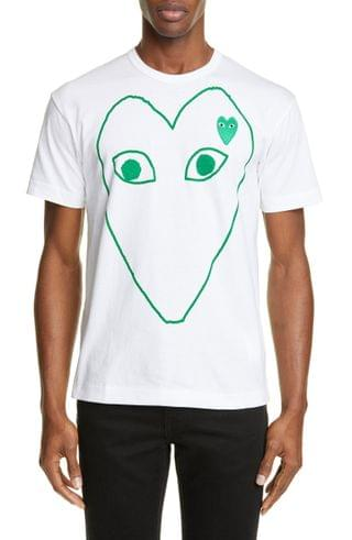 MEN Comme des Gar ons PLAY Green Heart Graphic Tee