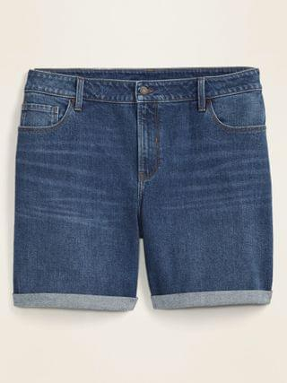 WOMEN Mid-Rise Relaxed Plus-Size Cuffed Jean Shorts -- 7-inch inseam