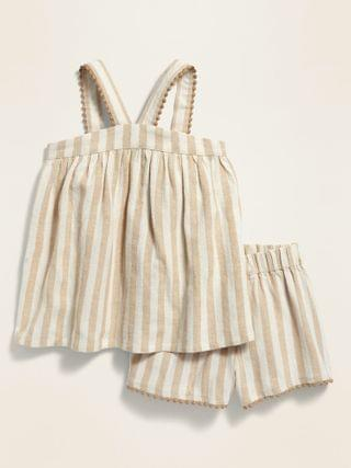 KIDS Striped Sleeveless Top and Shorts Set for Toddler Girls