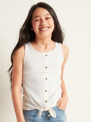 KIDS Rib-Knit Tie-Front Tank Top for Girls