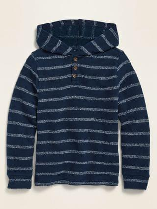 KIDS Striped French Terry Baja Henley Hoodie for Boys