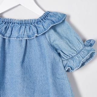 KIDS Mini girls blue denim bardot top outfit