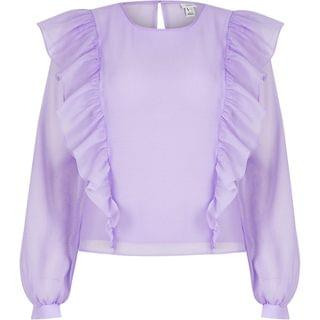 WOMEN Light purple frill sheer top