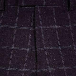 MEN Purple check skinny suit trousers