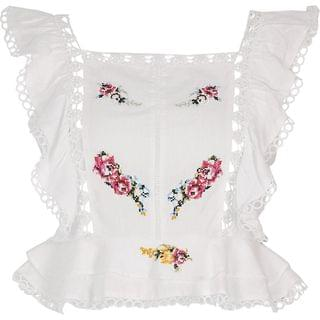 WOMEN White embroidered frill sleeve crop top
