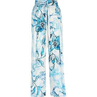 WOMEN Blue floral belted wide leg satin trousers