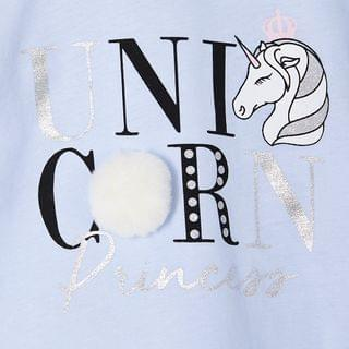 KIDS Mini girls unicorn print pom tee