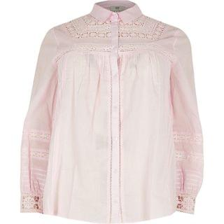 WOMEN Plus pink long sleeve embroidered shirt