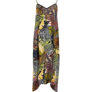 WOMEN Navy leaf slip midi beach dress