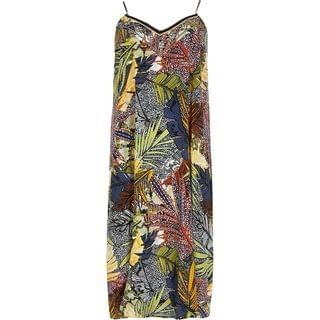WOMEN Plus Navy Floral Slip Midi Beach Dress