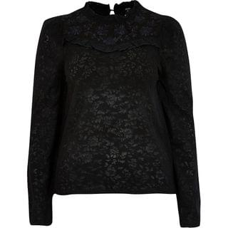 WOMEN Black lace embroidered frill high neck top