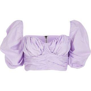 WOMEN Light purple ruched puff sleeve crop top